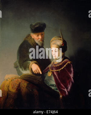 A Young Scholar and his Tutor; Workshop of Rembrandt Harmensz. van Rijn, Dutch, 1606 - 1669; about 1629 - 1630; - Stock Photo