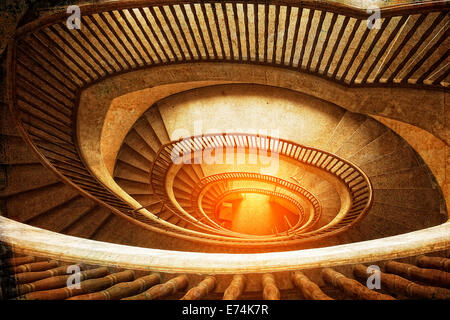 Spiral staircase in a retro style - Stock Photo