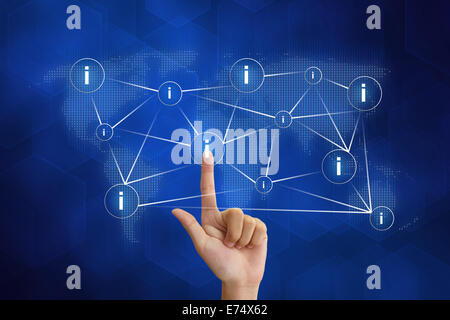 hand pushing information networking with blue background - Stock Photo
