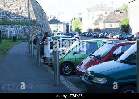 electric car parking lot in Oslo - Stock Photo
