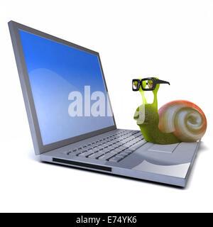 3d render of a snail on a laptop - Stock Photo