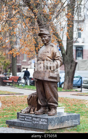 Monument to the Ukrainian stage director and actor Gnat Yura in the character of The Good Soldier Svejk, Lypyk, - Stock Photo