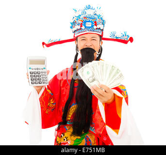 God of wealth holding a compute machine and money - Stock Photo