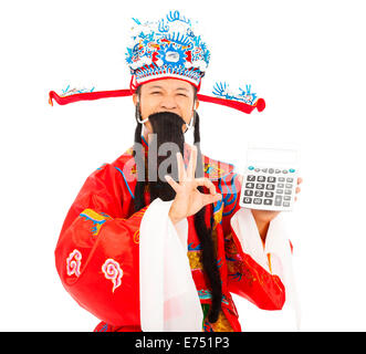 God of wealth holding a compute machine over white background - Stock Photo