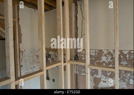 Interior work plaster board timber frame etc for house extension Hay-on-Wye Powys Wales UK - Stock Photo