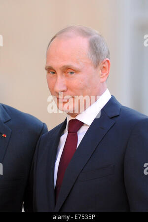 Portrait of Russian President Vladimir Putin, pictured during his official visit to France for the D-Day 2014 commemorations. - Stock Photo
