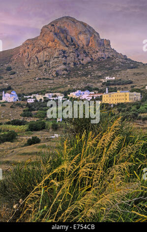 Xynara village located at the foot of Xobourgo rock, is seat of the Roman Catholic Archdiocese of Tinos island, - Stock Photo