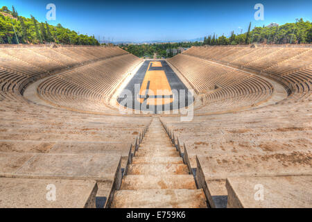 View from thetop of the Panathenaic Stadium in Athens, the location for the first modern Olympic Games - Stock Photo