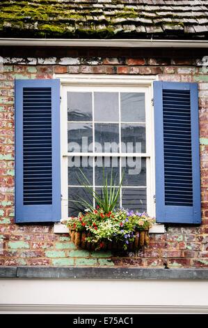 Window and Shutters, 138 East Washington Street, Lewisburg, West Virginia - Stock Photo