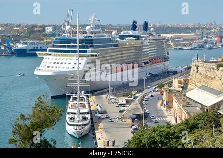 Large modern cruise ship liner Celebrity Silhouette moored in the Grand Harbour at cruise terminal in her home port - Stock Photo