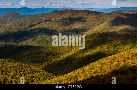 Cloud shadows on the Blue Ridge, seen from Blackrock Summit, along the Appalachian Trail in Shenandoah National - Stock Photo