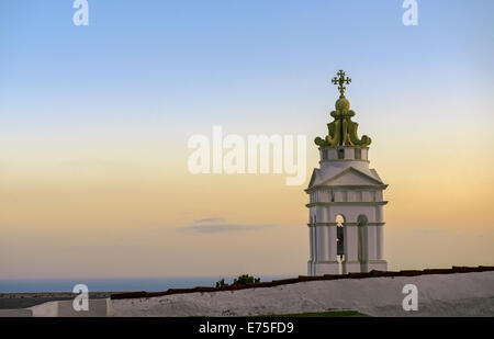 Agia Triada Orthodox church situated on a excellent viewpoint to the sea in Kardiani village in Tinos island, Cyclades, - Stock Photo