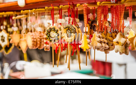 Gingerbread Christmas Ornaments at the 'Christmas Market' in Colmar France - Stock Photo