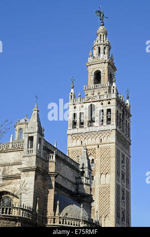 La Giralda, bell tower, Seville Cathedral, Catedral de Santa María de la Sede, Seville, Andalusia, Spain - Stock Photo