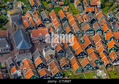 Aerial view, fishermen's houses on the Marken peninsula, Province of North-Holland, Netherlands - Stock Photo