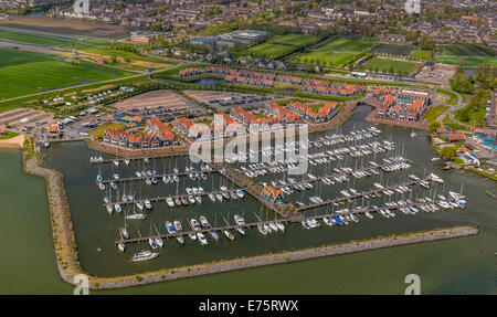Aerial view, harbour on Markermeer lake, Volendam, Province of North Holland, Netherlands - Stock Photo