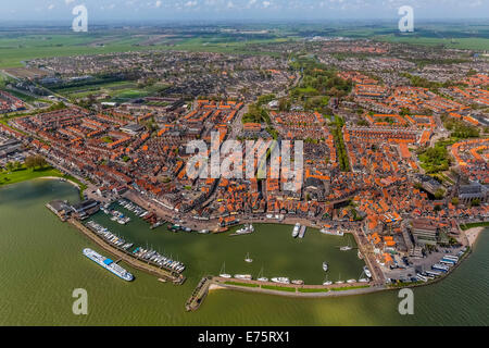 Aerial view, Volendam with harbour at Markermeer lake, Volendam, Province of North Holland, Netherlands - Stock Photo