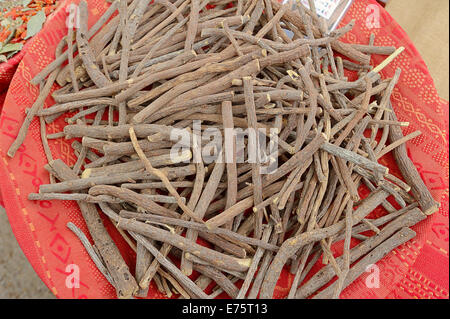 Licorice Root (Glycyrrhiza glabra) at a market stall, Bédoin, Vaucluse, Provence-Alpes-Côte d'Azur, Southern France, - Stock Photo