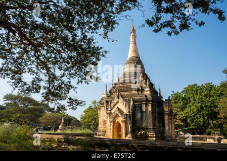 Temple, stupa or pagoda in the temple complex of the Plateau of Bagan, Mandalay Division, Myanmar or Burma - Stock Photo
