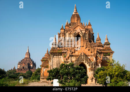 Temples, stupas and pagodas in the temple complex of the Plateau of Bagan, Mandalay Division, Myanmar or Burma - Stock Photo