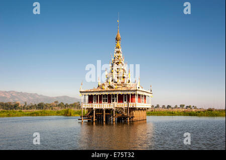 Temple in the water, Inle Lake, Shan State, Myanmar - Stock Photo
