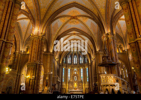 Interior of Matthias Church, Budapest, Hungary - Stock Photo