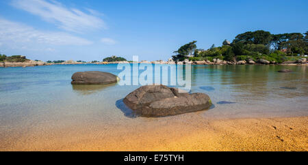 Rock formations, Sentier des Douaniers, Perros-Guirec, Côte de Granit Rose or Pink Granite Coast, Brittany, France - Stock Photo