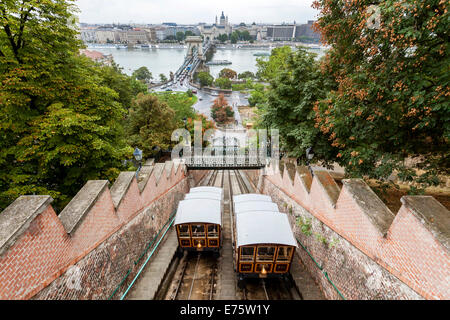 Budavári Sikló, funicular, castle hill, Budapest, Hungary - Stock Photo
