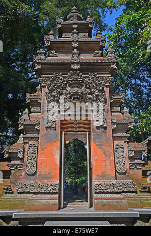 Entrance gate in the Tirta Empul Water Temple, Bali, Indonesia - Stock Photo