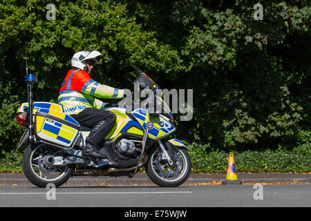 Merseyside Police motorcycle outriders in Liverpool, Merseyside, UK 7th September, 2014. Policing the first Sky - Stock Photo