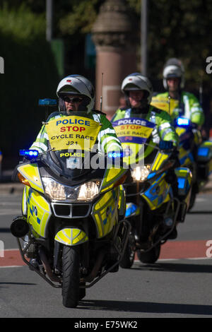 Liverpool, Merseyside, UK 7th September, 2014.  Policing the first Sky Ride Liverpool and Tour of Britain.  Cyclists - Stock Photo