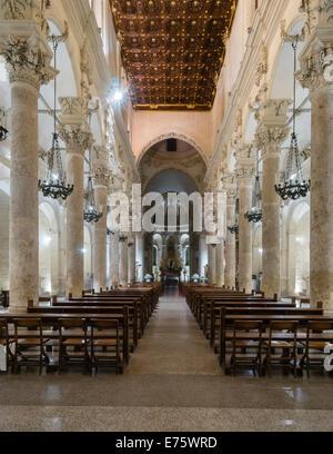 Nave, choir, apse, gilded panelled ceiling, Basilica di Santa Croce, Baroque of Lecce, also Baroque of Salento, - Stock Photo