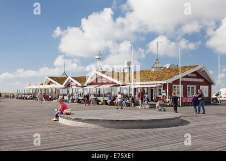 Restaurant on the pier of St. Peter-Ording, Eiderstedt, Schleswig-Holstein, Germany - Stock Photo