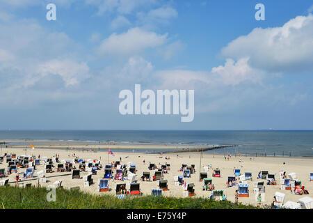 Roofed wicker beach chairs on the beach, Wangerooge, Friesland, Lower Saxony, Germany - Stock Photo