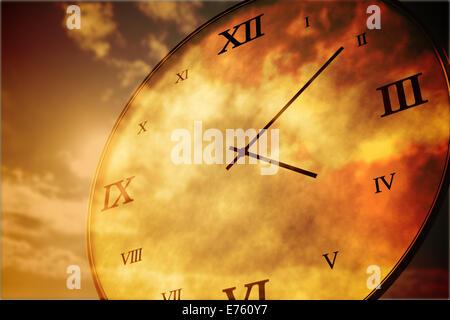 Digitally generated roman numeral clock - Stock Photo