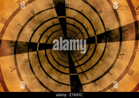 Digitally generated roman numeral clock vortex - Stock Photo