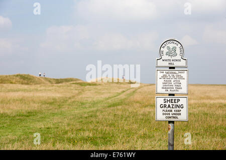 White Horse Hill on Bratton Downs and the earthworks of Uffington Castle Iron Age hill fort,  Wiltshire, England, - Stock Photo