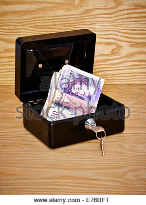 black metal cash box filled with GDP british £20 pound notes - Stock Photo