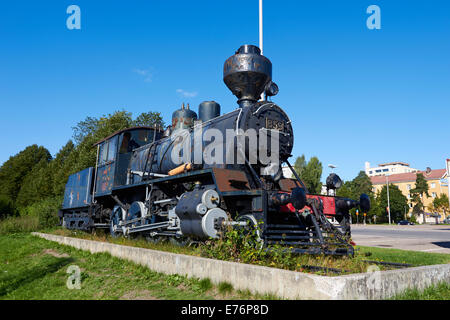 Steam engine locomotive on display in Kouvola Finland Europe - Stock Photo