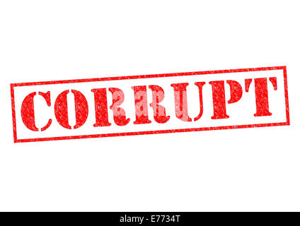 CORRUPT red Rubber Stamp over a white background. - Stock Photo