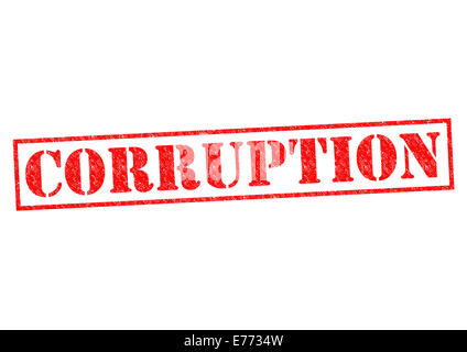 CORRUPTION red Rubber Stamp over a white background. - Stock Photo