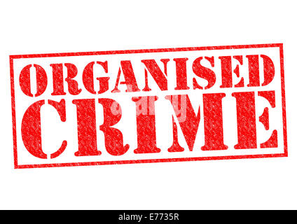 ORGANISED CRIME red Rubber Stamp over a white background. - Stock Photo