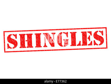 SHINGLES red Rubber Stamp over a white background. - Stock Photo