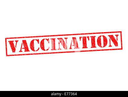 VACCINATION red Rubber Stamp over a white background. - Stock Photo