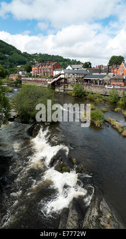 A vertical view of Llangollen railway station and the River Dee in  Denbighshire, North Wales, UK  KATHY DEWITT - Stock Photo