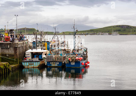 Fishing boats berthed by Railway Pier, Oban, Argyll & Bute, Scotland, UK  Model Release: No.  Property Release: - Stock Photo