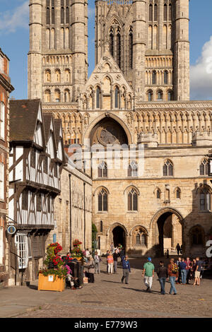Lincoln Cathedral, Exchequer Gate and medieval town centre, Lincoln England UK - Stock Photo