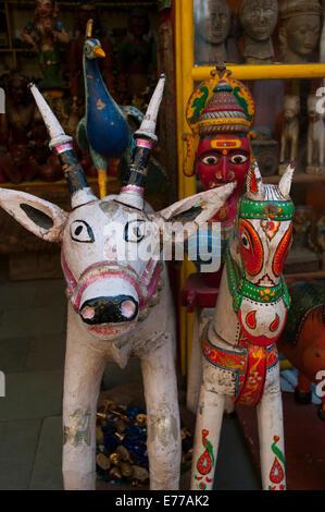 Colorful local handicrafts, Pushkar, Rajasthan, India. - Stock Photo