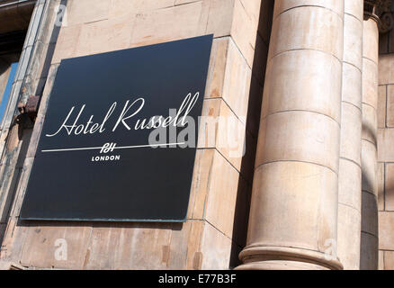 Sign on Hotel Russell, Russell Square, London - Stock Photo