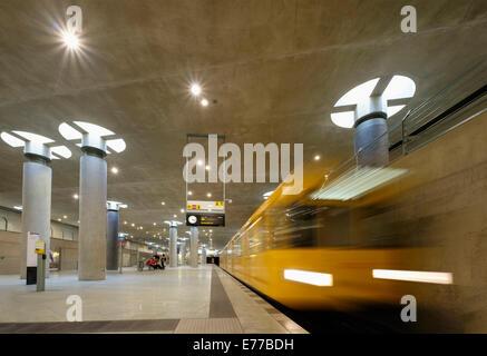 train at platform at Bundestag subway station in Berlin Germany - Stock Photo